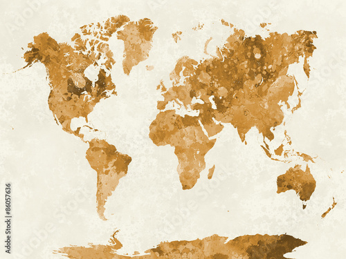 Photo  World map in watercolor orange
