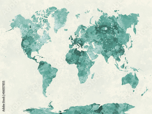 Photo  World map in watercolor green
