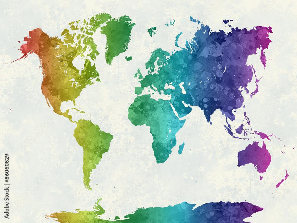 Fotografia  World map in watercolor rainbow