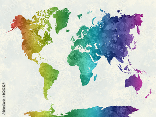 Fotografering  World map in watercolor rainbow
