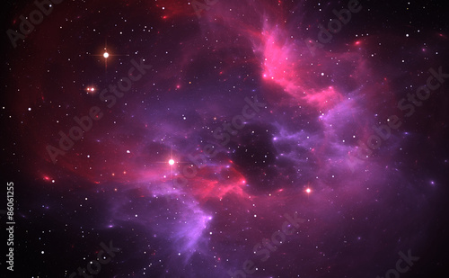 Space background with purple nebula and stars Canvas Print