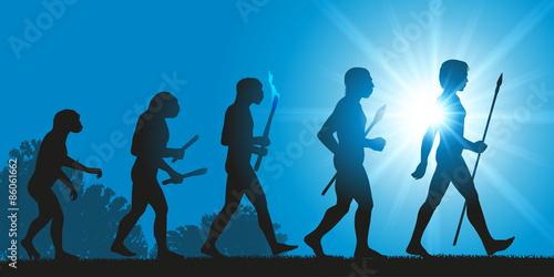 Fotografía  Concept de la théorie de l'évolution de Darwin, illustré avec la transformation de la silhouette humaine, de homme primitif à l'homo sapiens