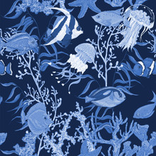 Blue Sea Life Seamless Background, Underwater Vector