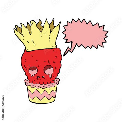 Printed kitchen splashbacks Illustrations spooky skull cupcake cartoon with speech bubble