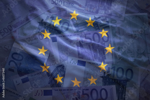 Foto op Plexiglas Noord Europa colorful waving european union flag on a euro money background