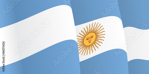 Fotografie, Tablou  Background with waving Argentine Flag. Vector