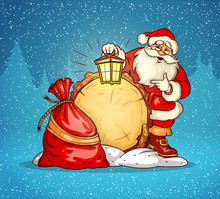 Santa Claus With Lantern And Sack Of Gifts. Eps10 Vector