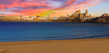 Sunset Panorama Of Cadiz, Spain