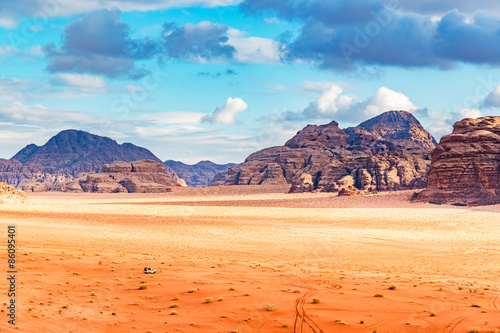 Poster de jardin Desert de sable Jordanian desert in Wadi Rum, Jordan.