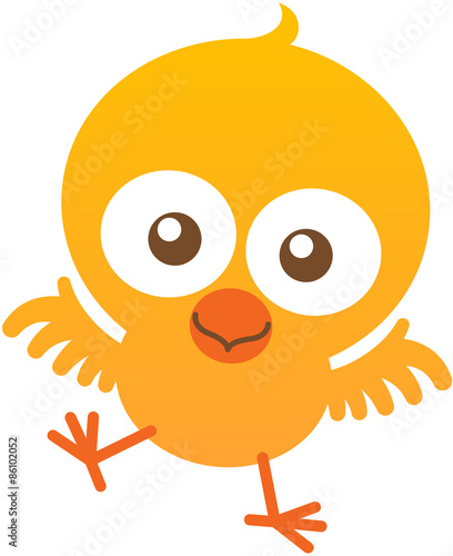 Poster Pony Cute baby chicken flapping and smiling enthusiastically