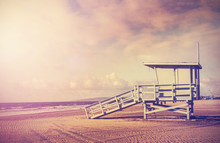Vintage Filtered Picture Of Lifeguard Tower, California, USA.