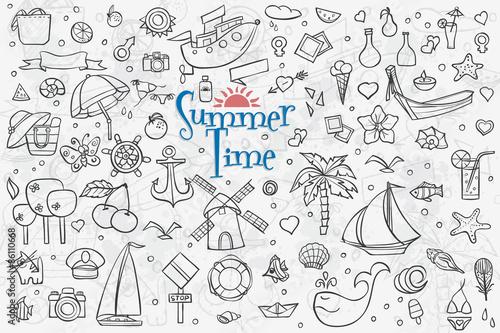 In de dag Boho Stijl A large set of outline drawings on the theme summer. Summer Dood