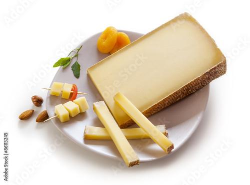 Swiss Gruyere cheese in a plate