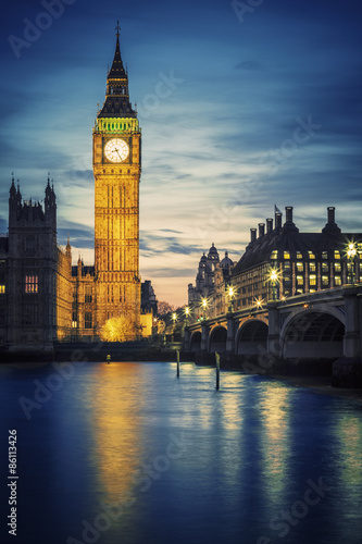 Famous Big Ben tower in London at sunset