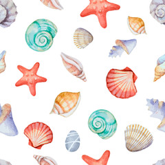 Fototapeta Watercolor seamless pattern with sea shells