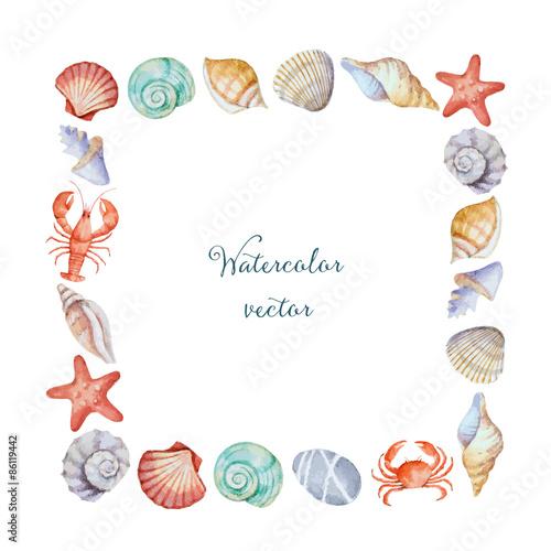 Fotografia Watercolor square frame of sea shells
