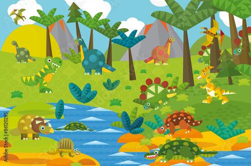 Tuinposter Dinosaurs Cartoon dinosaur land - illustration for the children