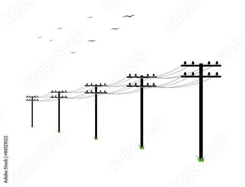 Fotografie, Obraz  high voltage power lines