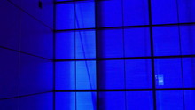 A All Blue Background In A Room. The Room Filled With Blue Lights All Around