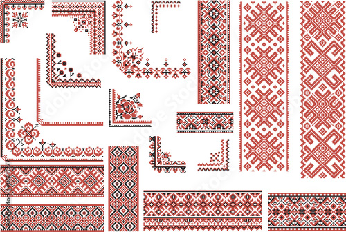Set Of Patterns For Embroidery Stitch Borders And Frames Buy This