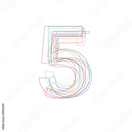 number 5 in outline Poster
