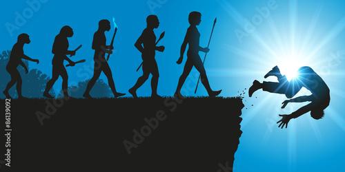 Concept de la disparition de l'espèce humaine avec le symbole de Darwin montrant l'évolution de l'homme aboutissant à une impasse et à une chute dans le vide Fototapet