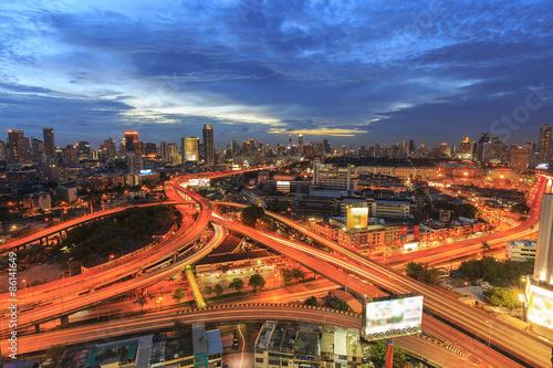 Bangkok city at twilight and main traffic high way Canvas Print
