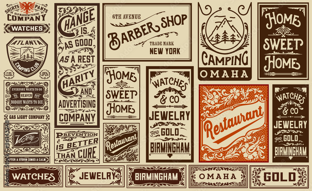 Fototapety, obrazy: mega pack old advertisement designs and labels - Vintage illustr