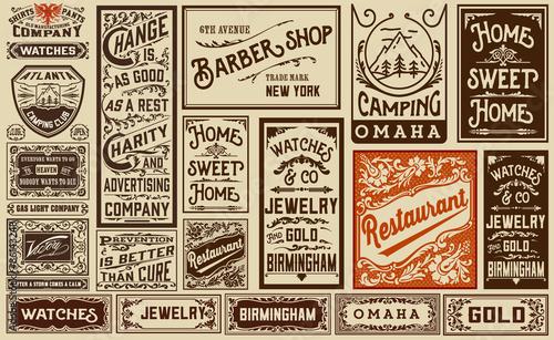 mega pack old advertisement designs and labels - Vintage illustr