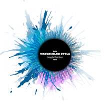 Abstract Circle Black Banner With Place For Text, Watercolor
