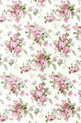 Fototapetapink rose vintage on fabric background