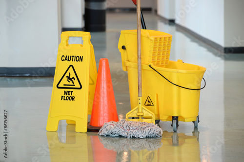 Wet Floor Sign With Mop Fototapeta