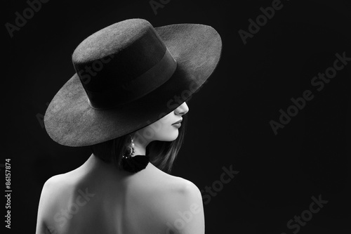 Fotografie, Obraz  black and white portrait of a beautiful young woman with a bob h