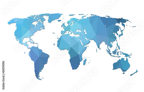 World map background in polygonal style Tapéta, Fotótapéta