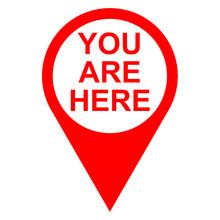 Icono Texto YOU ARE HERE Localizacion Rojo