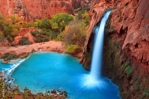 Photo Stands Arizona Most beautiful Falls in United States--Havasu Falls,Supai, Arizona