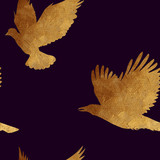 Seamless pattern with golden birds. - 86167026