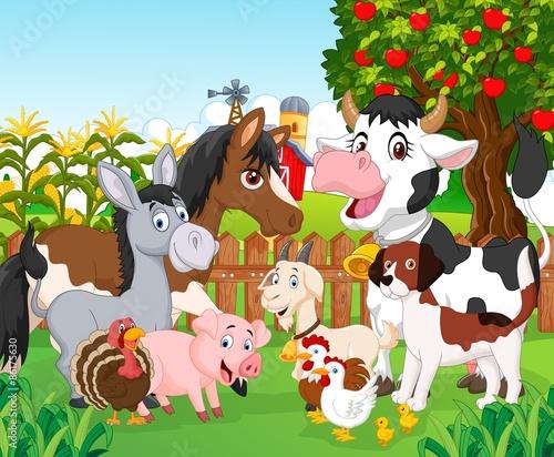 Wall Murals Ranch Cartoon cute animal