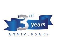 3 Years Anniversary Logo Blue Ribbon