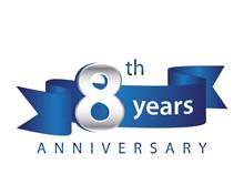 8 Years Anniversary Logo Blue Ribbon