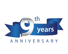 9 Years Anniversary Logo Blue Ribbon