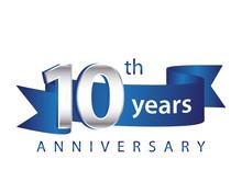 10 Years Anniversary Logo Blue Ribbon