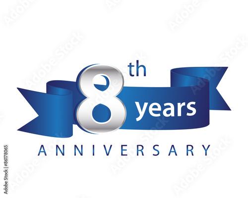 8 Years Anniversary Logo Blue Ribbon Wall mural