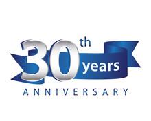 30 Years Anniversary Logo Blue Ribbon