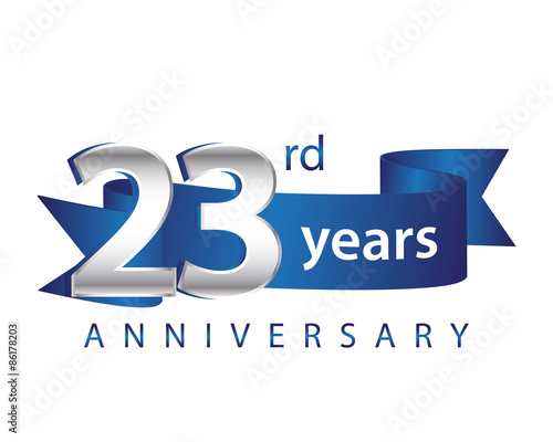 Fotografia  23 Years Anniversary Logo Blue Ribbon