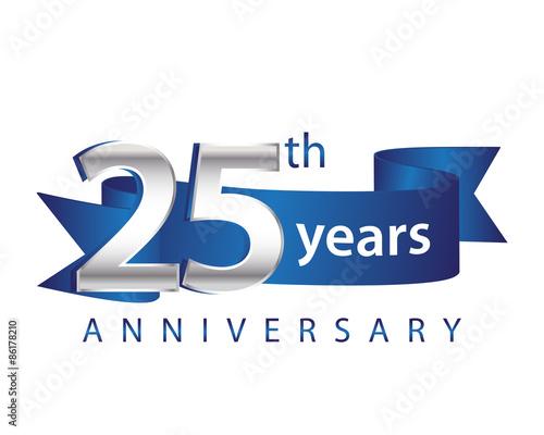 Obraz 25 Years Anniversary Logo Blue Ribbon - fototapety do salonu