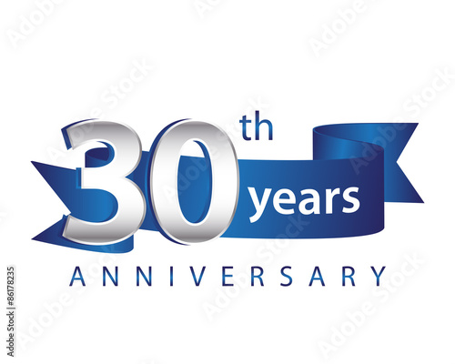 Fotografia  30 Years Anniversary Logo Blue Ribbon