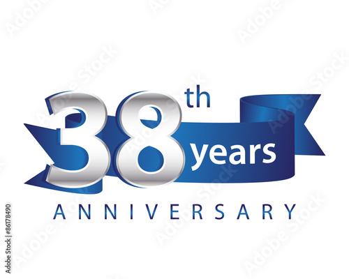 Tela 38 Years Anniversary Logo Blue Ribbon