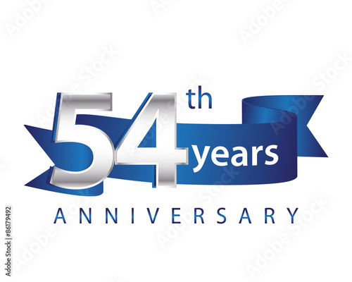 54 Years Anniversary Logo Blue Ribbon Wallpaper Mural