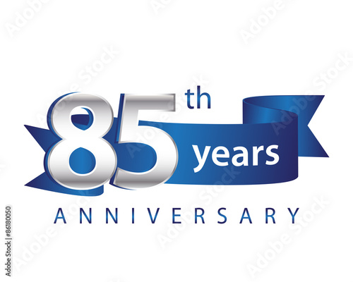 Papel de parede  85 Years Anniversary Logo Blue Ribbon
